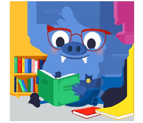 Il.lustració entranyable que acompanya el curs Biblioteca escolar i animació de la lectura